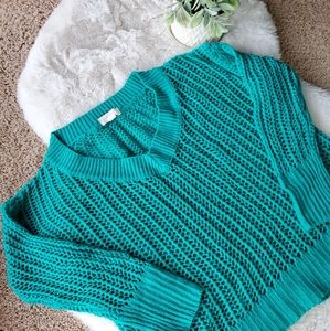 Oversized Loose Knit Turquoise Sweater